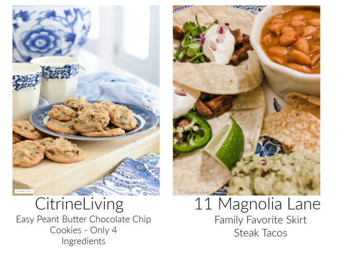 images of chocolate chips cookies and steak tacos