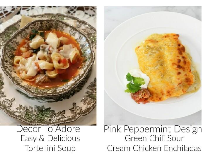 image of tortellini soup and chicken enchiladas