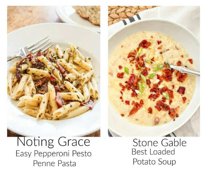 images of pepperoni penne pasta and loaded potato soup