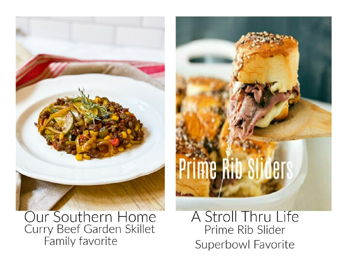 images of beef skillet and prime rib sliders