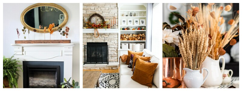 Fall decor collage in three rooms