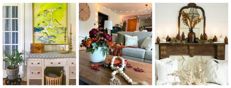 three picture collage of interiors